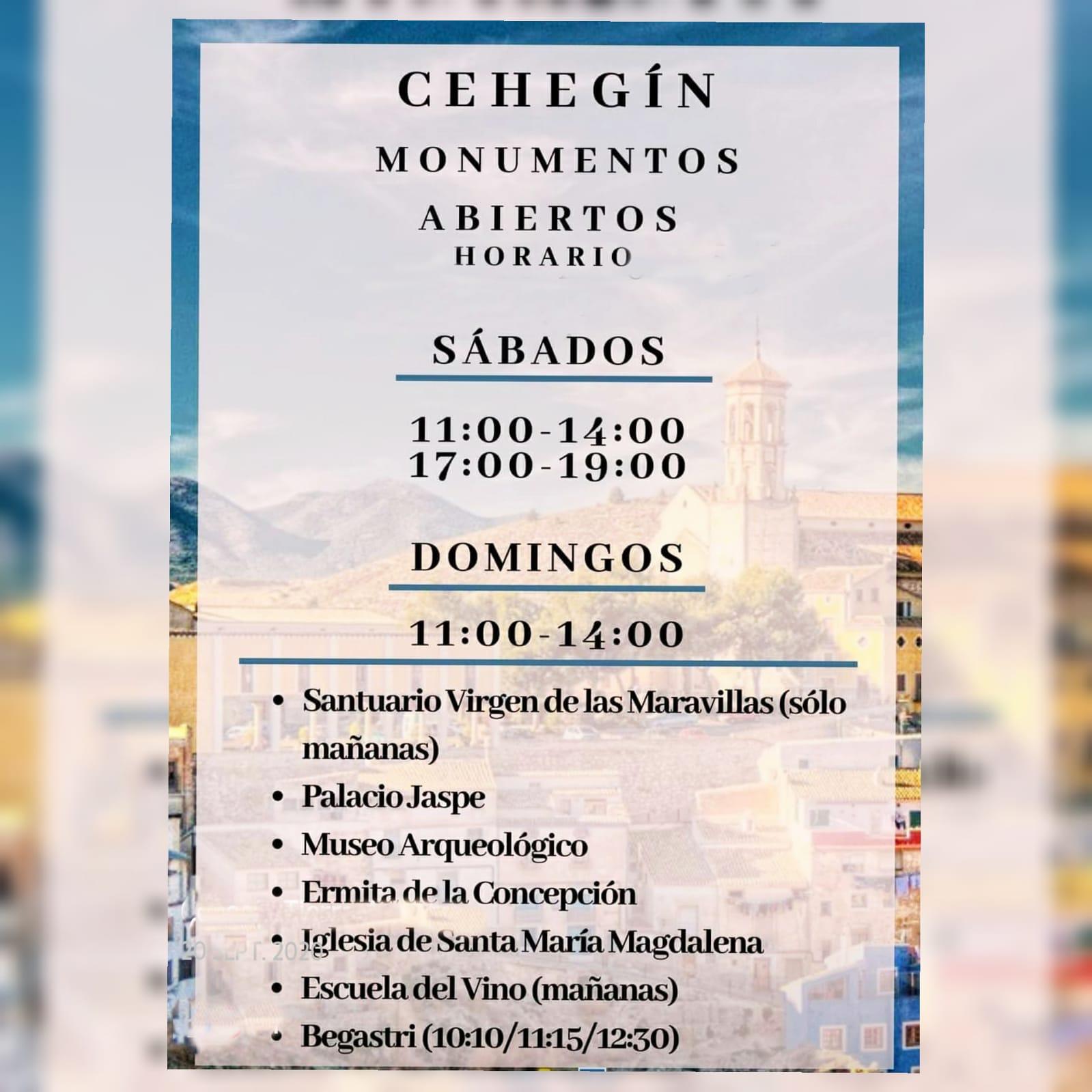 Los monumentos de Cehegín se reabren a la visita a partir de este fin de semana